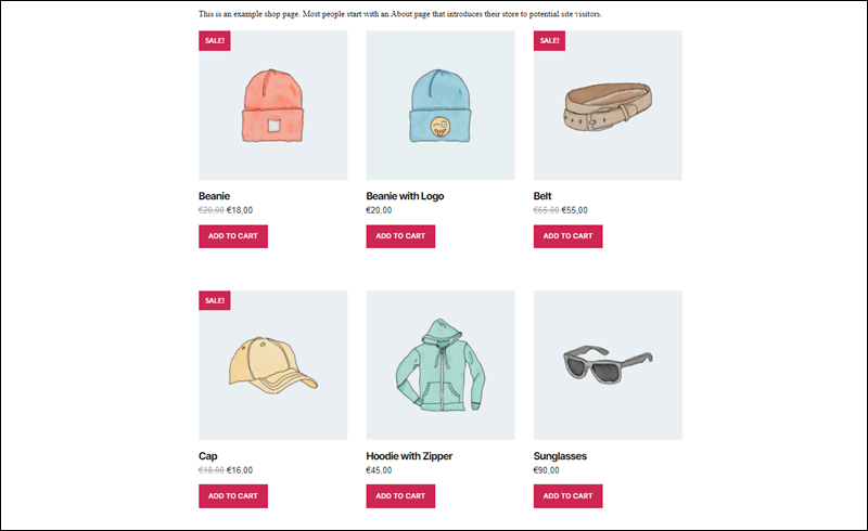 Grid containing featured products in WooCommerce.