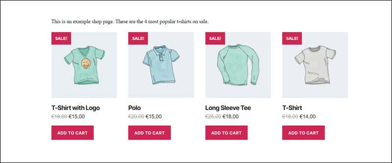 Most popular t-shirts on sale shown using WooCommerce shortcodes.
