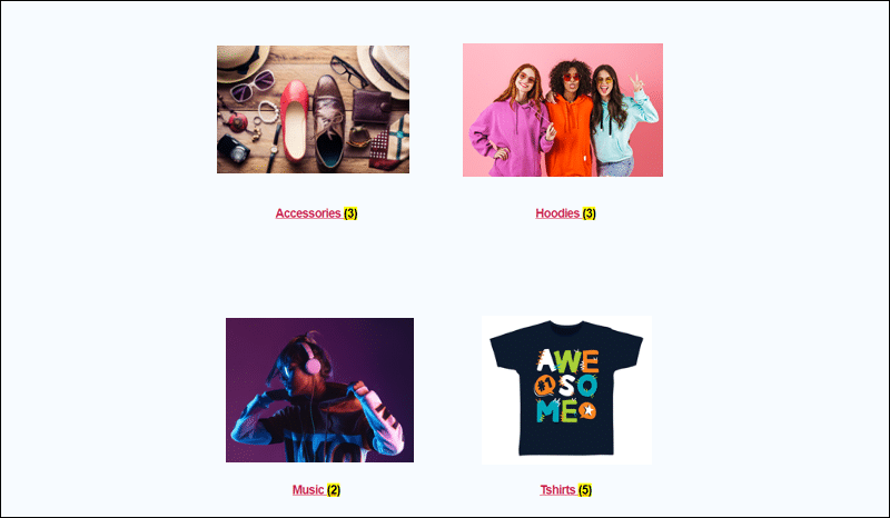 WooCommerce product categories displayed using shortcodes.