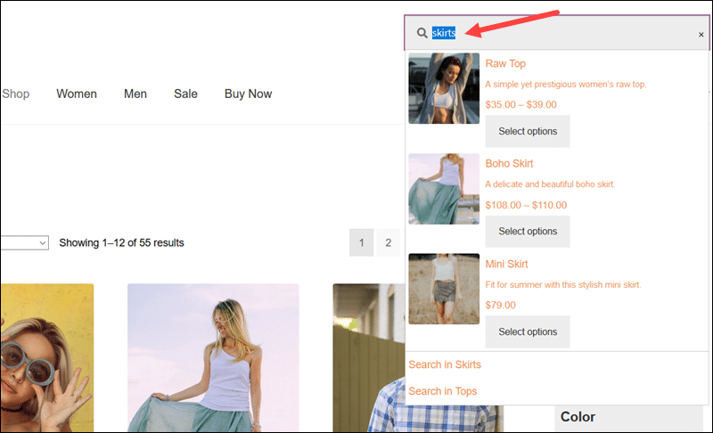 The live search field created using the WooCommerce Product Search plugin.