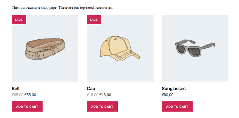 Top-rated items in a WooCommerce store shown using shortcodes.