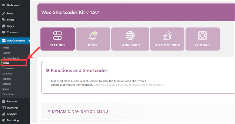 The Woo Shortcode Kit plugin interface.