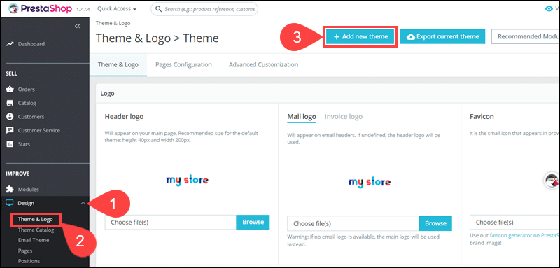 Options to add a new PrestaSHop theme using a direct URL.