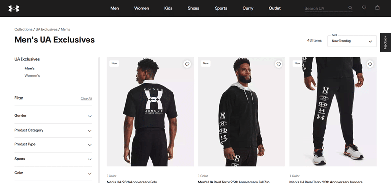 Example of category and product pages on Under Armor's website.