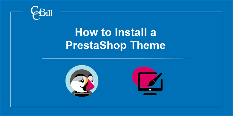 PrestaShop Logo with a theme representation.