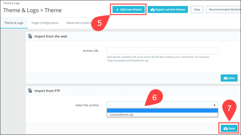 The Import from FTP field in PrestaShop.