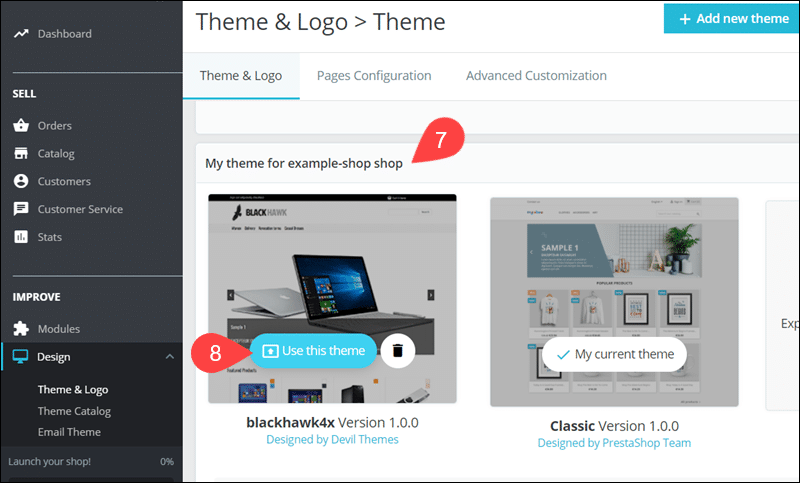 Activate new theme in PrestaShop.
