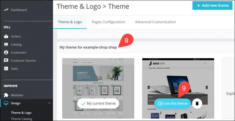 Activate new theme imported via FTP in PrestaShop.
