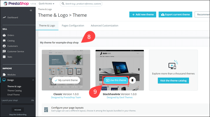 Select new theme in PrestaShop admin.