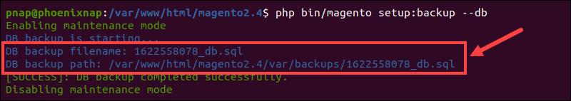 Magetno Database backup command.