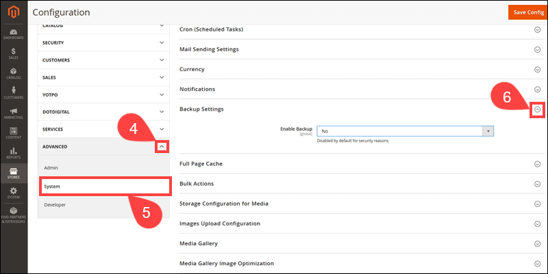 Access Backup Settings in Magento Admin.