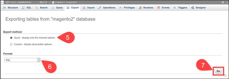 Export SQL file to backup Magento database.