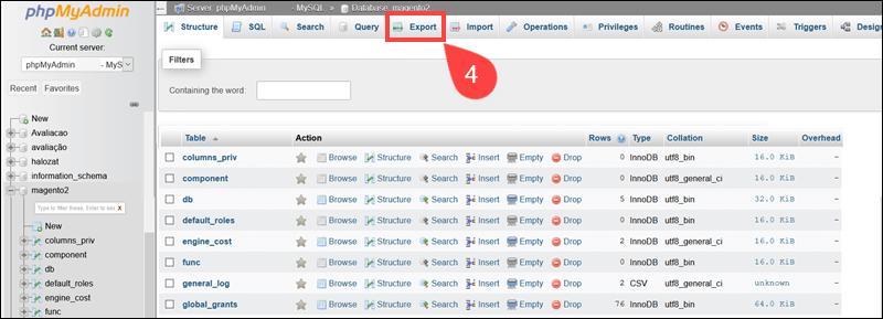Export Magetno database using phpMyAdmin.