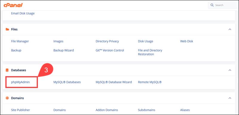 Backup Magento database using cPanel.