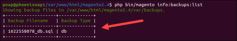 Diplay list of available Magetno backups in terminal.