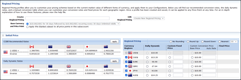CCBill's Regional Pricing feature.