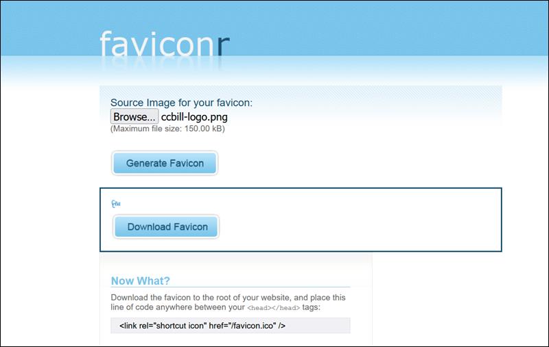 Create a favicon file using Faviconr.