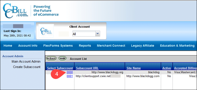Select a sub-account in CCBill's Admin.