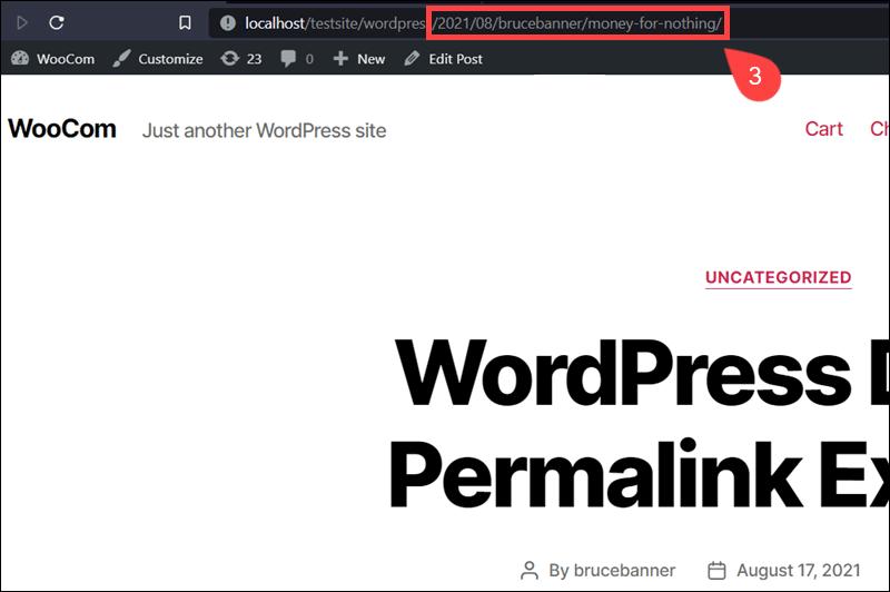 An example of a custom permalink in WordPress.