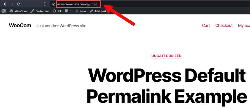 An example of a default WordPress permalink.