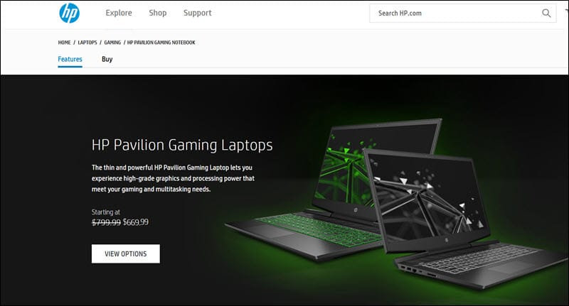 HP uses upsells to sell laptops.