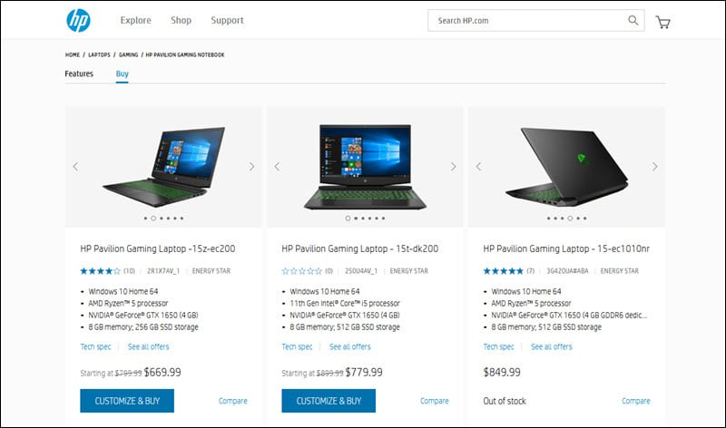 A selection of upsell laptop models on HP's website.