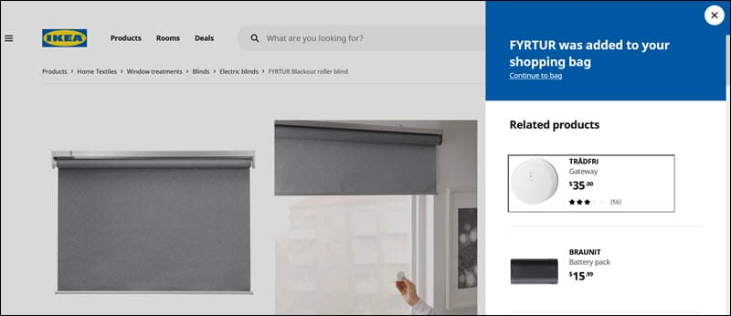 An example of IKEA's cross-sell offers.