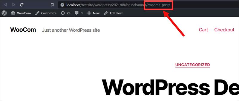 A new URL slug in the permalink URL.