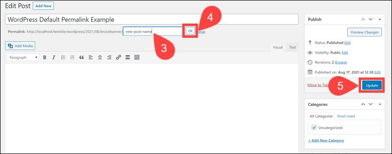 Steps to update URL slug in WordPress.