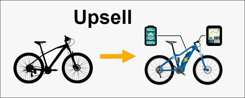 Electric bicycle upsell example.