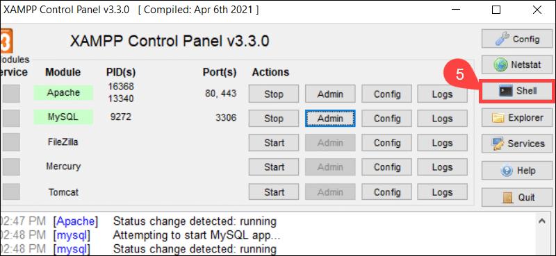 Access the XAMPP Shell.