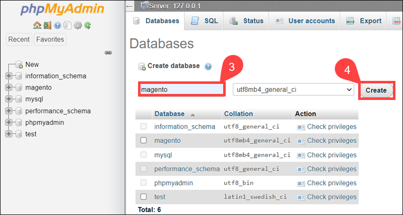 Create new Magento database in phpMyAdmin.