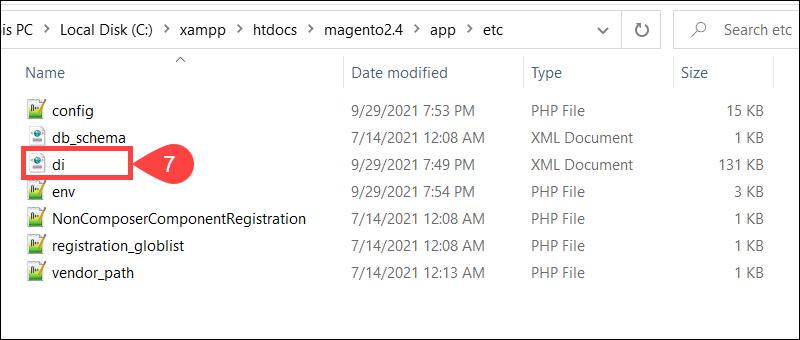 Location of the di.xml file in Magento 2 in Windows.