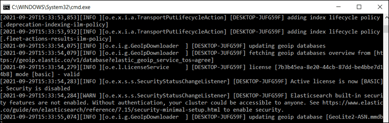 Elasticsearch running in a Windows command line.