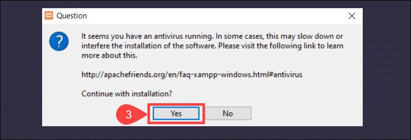 XAMPP info durring installation.