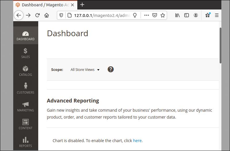 Magento Admin dasboard example.
