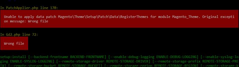 Magento installation Windows error.