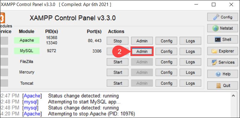 Access phpMyAdmin from XAMPP.