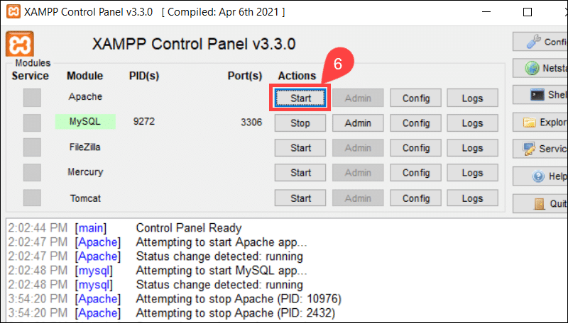 Start and stop Apache form XAMPP.
