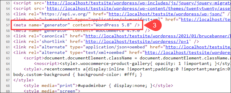 The WordPress version number in the page source code.