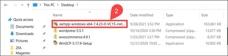 XAMPP executable file in Windows.
