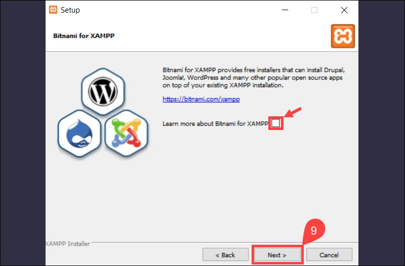 Skip Bitnami info page in XAMPP.