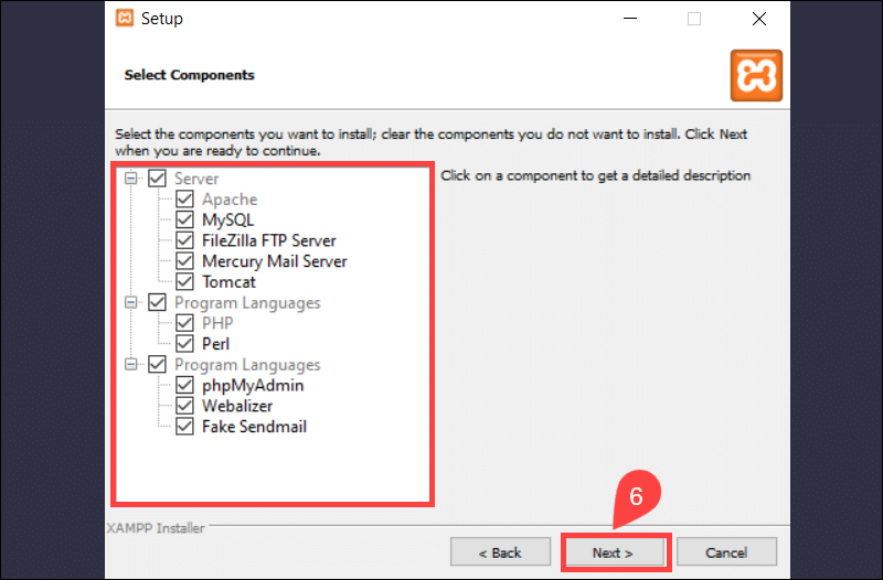 Select XAMPP components to install.