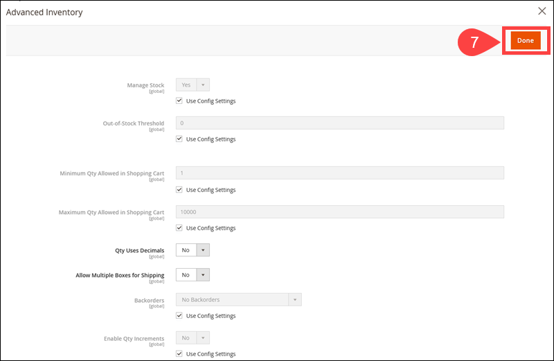 The Advanced Inventory options in Magento.
