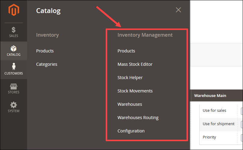 Inventory management option in the Inventory extension.