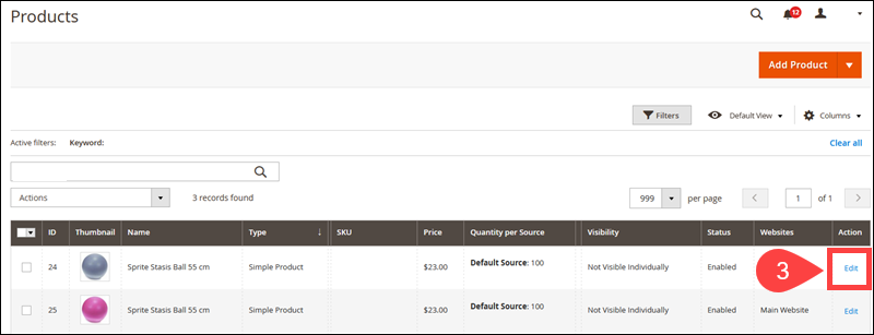 Edit stock options for individual product in the Magento Admin.