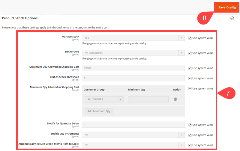 Product Stock Options in the Magento Admin