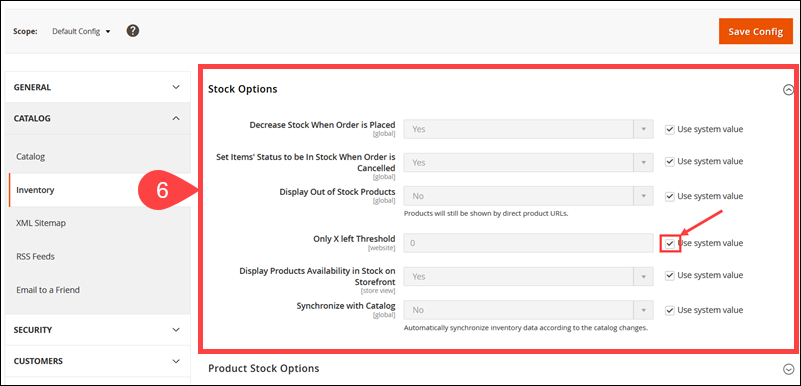 Stock Option in the Magento Admin.