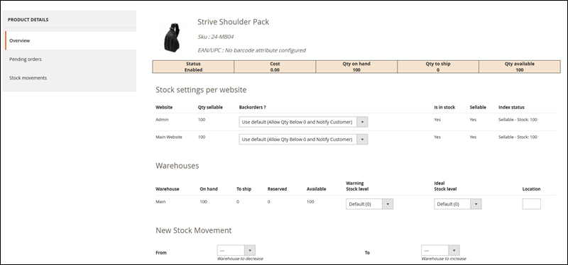 Product inventory management in Magento.