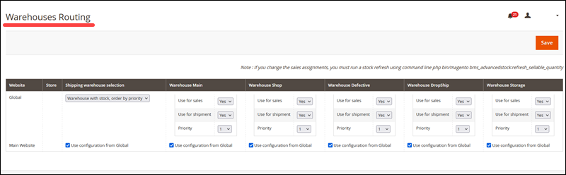 Warehouse routing in the Inventory Extension